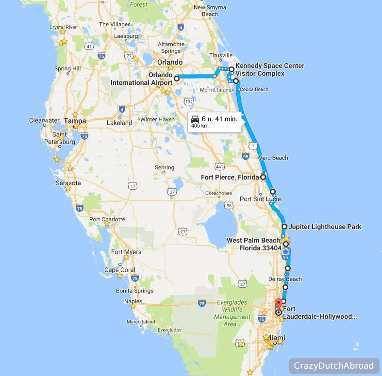 Two days road trip from orlando to fort lauderdale for Map of east coast of florida